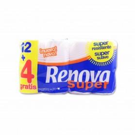 Renova Papel Higiénico Super Resistente 2 Capas - (12 Rollos) + 4 Gratis