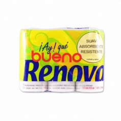 Renova Papel HigiénicoSuave Absorbente y Resistente Ay Bueno -(12 Rollos)