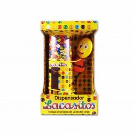 Dispensador Lacasitos + Grageas de Chocolate con Leche Recubierta con Azúcar Coloreado - 150g