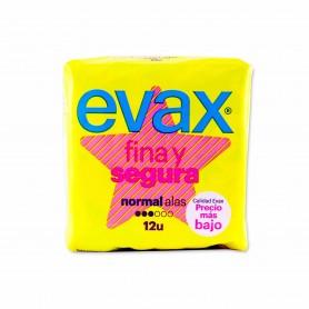 Evax Compresas Fina y Segura Normal con Alas - (12 Unidades)