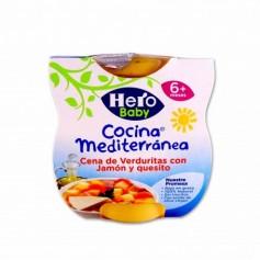 Hero Baby Potito Cocina Mediterránea Cena de Verduritas con Jamón y Quesito - (2 Unidades) - 400g