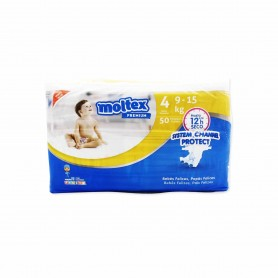 Moltex Premium Pañales Infantiles Transpirables con Aloe Vera Talla 4 (9-15kg) - 50 Pañales