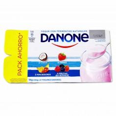 Danone Yogur con Sabor Coco, Fresa, Macedonia y Frutas del Bosque - (8 Unidades) - 1kg