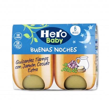 Hero Baby Potito Buenas Noches Guisantes Tiernos con Jamón Cocido - (2 Unidades) - 380g