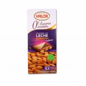 Valor Chocolate con Lechey Stevia conAlmendras Enteras - 150g
