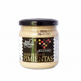 Salsas Asturianas Salsa de Cinco Pimientas Gourmet- 190g